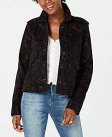 American Rag Juniors' Printed Velvet Jacket, Created for Macy's