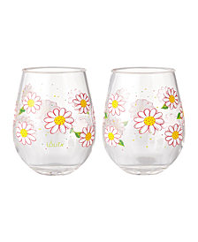 Enesco Lolita Oops A Daisy 2-Pc. Stemless Wine Glass Set