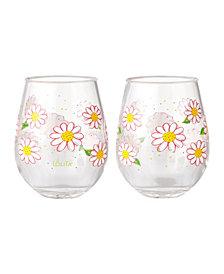Enesco Lolita Oops A Daisy 2-Pc. Stemless Wine Glass Set