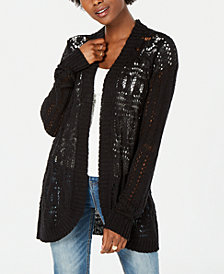 American Rag Juniors' Crochet Rounded-Hem Cardigan, Created for Macy's