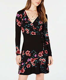 One Clothing Juniors' Floral-Print Wrap Dress