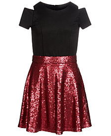 Us Angels Big Girls Scuba Sequin Dress
