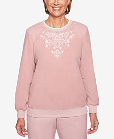 Alfred Dunner Petite Home for the Holidays Embroidered Floral Sweater
