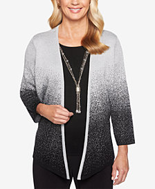 Alfred Dunner Shining Moments Ombré Metallic Layered Look Top