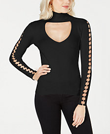 GUESS Holly Cutout O-Ring Turtleneck