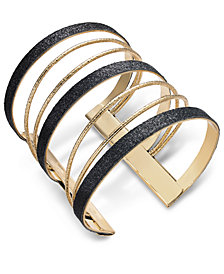 Thalia Sodi Gold-Tone Sugar Glitter Multi-Row Cuff Bracelet, Created for Macy's
