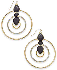 "Thalia Sodi Extra Large Gold-Tone Black Spade Crystal Hoop Earrings, 2.5"", Created for Macy's"