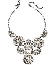 "I.N.C. Black-Tone Crystal Cluster Statement Necklace, 17"" + 3"" extender, Created for Macy's"