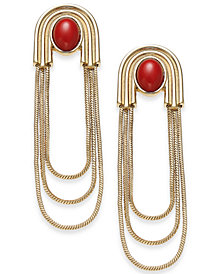 "Thalia Sodi Large Gold-Tone Stone & Snakechain Triple-Row Drop Earrings, 2.75"", Created for Macy's"