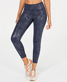 Ideology Metallic Print High-Rise Leggings, Created for Macy's