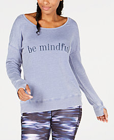 Ideology Be Mindful Graphic Cutout-Back Sweatshirt, Created for Macy's
