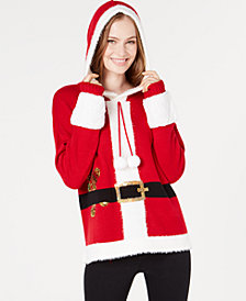 Hooked Up by IOT Juniors' Hooded Santa Sweater