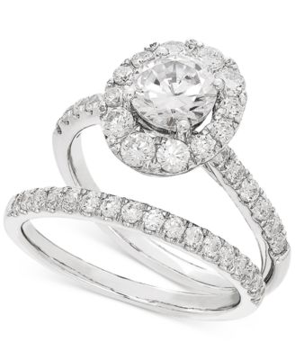 lab grown diamonds macy s Lab Room lab grown diamond halo bridal set 2 ct t w in 14k white gold