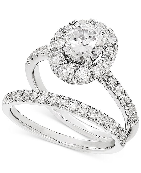 Grown With Love Lab Grown Diamond Halo Bridal Set (2 ct. t.w.) in 14k White Gold