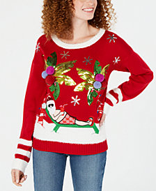 Hooked Up by IOT Juniors' Tropical Santa Sweater