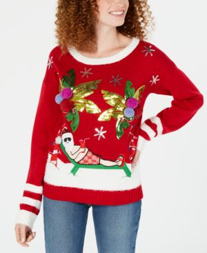 Hooked Up by Iot Juniors' Tropical Santa Sweater - Christmas Red