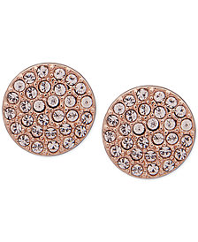 DKNY Rose Gold-Tone Pavé Disc Stud Earrings