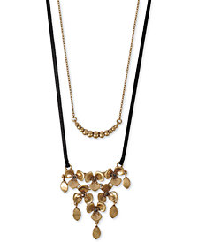 "Lucky Brand Gold-Tone Crystal Flower & Bead Layered Leather Necklace, 19"" + 2"" extender"