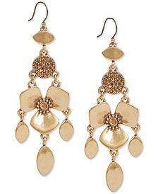 Lucky Brand Gold-Tone Crystal Flower Statement Earrings