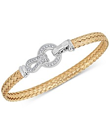 Diamond Horseshoe Braided Mesh Bangle Bracelet (1/4 ct. t.w.) in Sterling Silver & 14k Gold-Plate