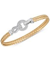3dc4f9136 Diamond Horseshoe Braided Mesh Bangle Bracelet (1/4 ct. t.w.) in Sterling