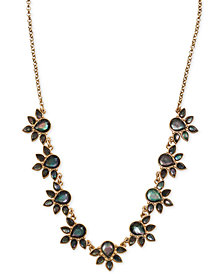 "Lucky Brand Gold-Tone Black Mother-of-Pearl Stone Collar Necklace, 17-1/4"" + 2"" extender"