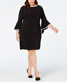 MSK Plus Size Contrast-Trim Bell-Sleeve Sheath Dress