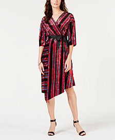 NY Collection Petite Striped Velvet Asymmetrical Dress