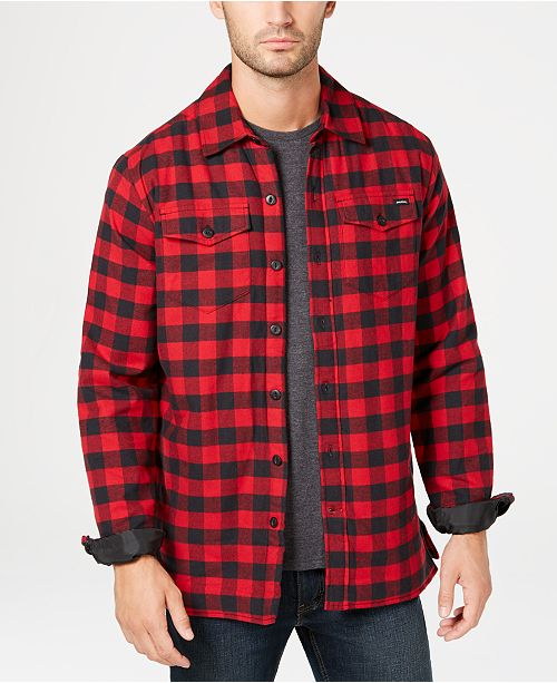 6815c98a7 Dickies Men s Fleece-Lined Plaid Flannel Shirt Jacket   Reviews ...