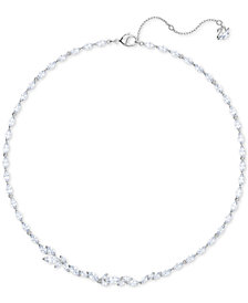 "Swarovski Silver-Tone Crystal Collar Necklace, 14-7/8"" + 2"" extender"