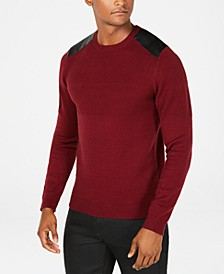 Men's Waffle Knit Shoulder Patch Sweater