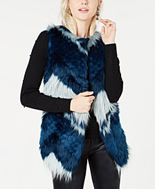 Bar III Faux-Fur Patchwork Vest, Created for Macy's