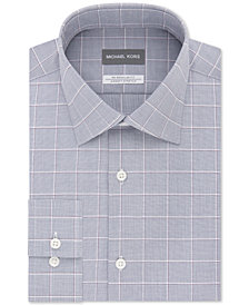 Michael Kors Men's Classic/Regular Fit Non-Iron Airsoft Stretch Performance Check Dress Shirt