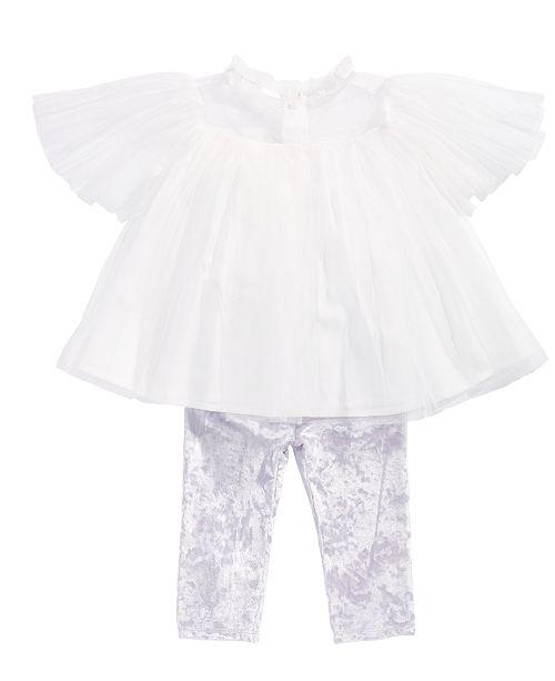 5508916cb95b4 First Impressions Baby Girls 2-Pc. Tulle Tunic & Velvet Leggings Set,  Created ...