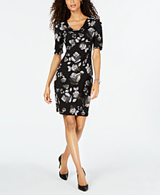 Connected Petite Cowl-Neck Floral-Printed Dress