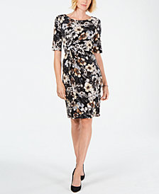 Connected Petite Floral-Printed Ruched Dress