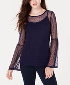 Ultra Flirt by Ikeddi Juniors' Mesh Bell-Sleeve Top