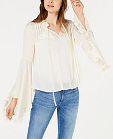 Moon River Satin Angel-Sleeve Top