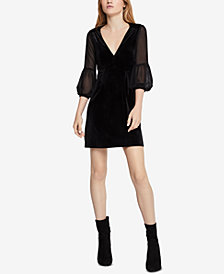 BCBGeneration Velvet Puff-Sleeve A-Line Dress