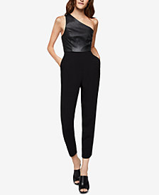 BCBGeneration Faux-Leather One-Shoulder Jumpsuit