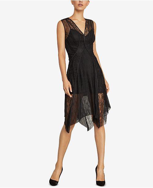 bfbc08f64b93 BCBGMAXAZRIA Asymmetrical Lace-Trimmed Dress   Reviews ...