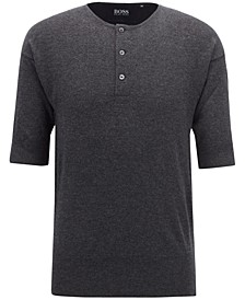 BOSS Men's Short-Sleeve Cashmere Henley Sweater