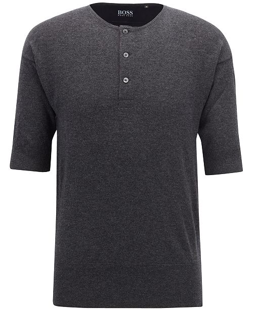 Hugo Boss BOSS Men's Short-Sleeve Cashmere Henley Sweater