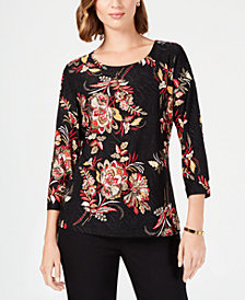 JM Collection Metallic Jacquard Sparkle Blouse, Created for Macy's