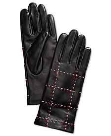 Charter Club Plaid Topstitch Leather Gloves, Created for Macy's