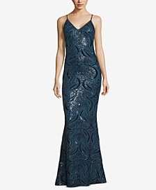 XSCAPE Strappy Sequin Gown