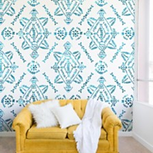 Deny Designs Schatzi Brown Reeve Pattern Aqua 8'x8' Wall Mural