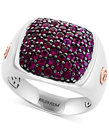 EFFY® Men's Ruby Ring (1-3/4 ct. t.w.) in Sterling Silver & 14k Rose Gold