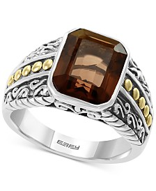 EFFY® Men's Smoky Quartz Ring (5-3/8 ct. t.w.) in Sterling Silver & 18k Gold