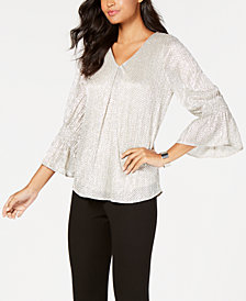 Alfani Petite Foil Smocked-Sleeve Top, Created for Macy's
